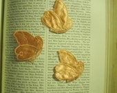Vintage butterflys appliques  in peach satin lot of 10 soft and beautiful