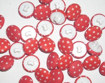 Red with white polka dot  5/8''  lot buttons 75 vintage