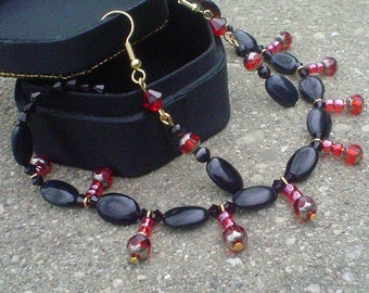 Ruby and Onyx Necklace and Earring Set