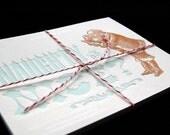 NAUGHTY or NICE - Set of 8 Letterpressed Postcard Greetings