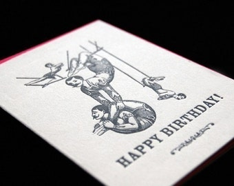 SALE - Happy Birthday Trapeze Artists - 4bar Letterpressed Card and Envelope