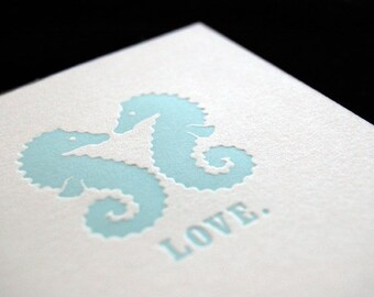 SALE – Seahorse Love - 4bar Letterpressed Card and Envelope
