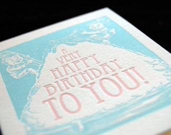 A Very Happy Birthday To You - Sweet Treat in Blush and Seafoam - Letterpressed 4bar Card and Envelope