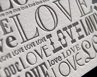 SALE – LOVE note (charcoal) - 4bar Letterpressed Card and Envelope