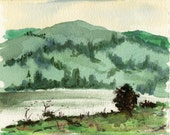Green Hill - Watercolor painting
