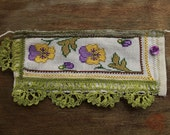 it's time for spring pansies cuff bracelet - antique cotton thread embroidered fabric and green tulle with needle lace trim