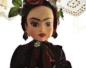as seen in Art Doll Quarterly - her name is Frida // Frida Kahlo papier mache art doll  - ooak / art doll