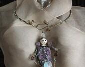 amethyst angel pendant 2, amethyst rough gemstone crystal- healing pendant - ooak