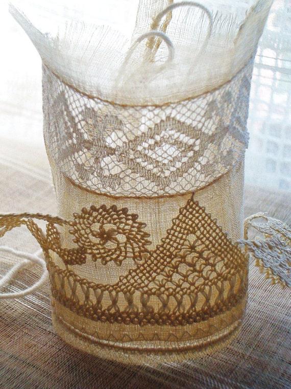 Deliciate romantic silk cuff - ooak - wearable art