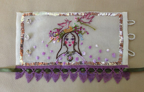spring dreamer silk cuff in silver wire embroidery and silk needle lace - embroidery art