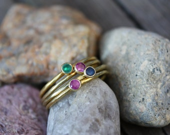 18K Gold Stackable Rings - Ruby, Sapphire, Emerald