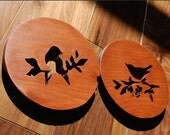 Spicy terra cotta, burnt orange bird trivet set