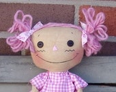 Pink Ribbon Rag Doll with Owl pattern, raggedy doll, pink hair doll, breast cancer awareness