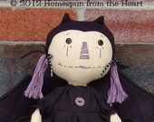 Primitive Halloween Bat Raggedy Doll Happy Haunting E pattern, bat girl, vampire bat, pattern