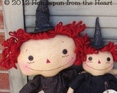 Primitive Raggedy Witch Dolls, Halloween patter witch dolls, sewing pattern, HFTH179