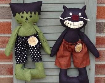 Primitive Wool Halloween Cat and Frank pattern, Cloth doll Frankenstein black cat pattern HFTH155