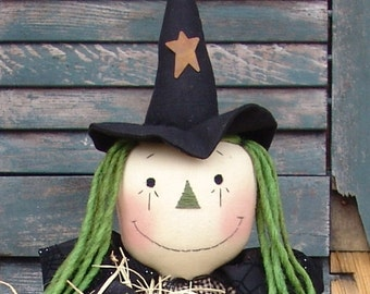 Primitive Raggedy Witch Cloth Doll pattern, Primitive Witch and Kitty Pattern, primitive Halloween Pattern, HFTH123