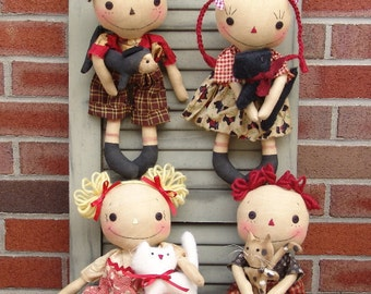 Primitive Raggedy Ann and Andy doll Pattern, Rag dolls with Cats and Dogs, Sewing PDF Pattern, raggedy doll pattern, HFTH188