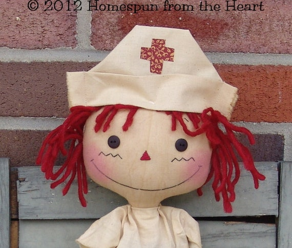 Primitive Raggedy Ann Nurse Doll with Bear pattern, nurse pattern, bear pattern, raggedy doll pattern, HFTH179