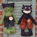 Primitive Halloween Cat and Frank pattern, Cloth doll Frankenstein black cat pattern, primitive epattern, HFTH155