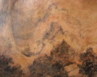 Tranquil Japanese inspired landscape with mountains rug/ wall-hanging