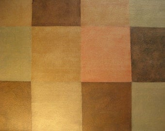 Floorcloth Rug Harlequin Pattern In Copper Bronze And Black