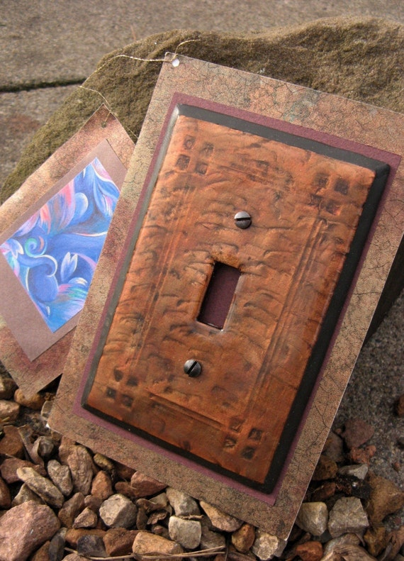 Arts and Crafts- Mission Style hammered Copper colored switch plate Single