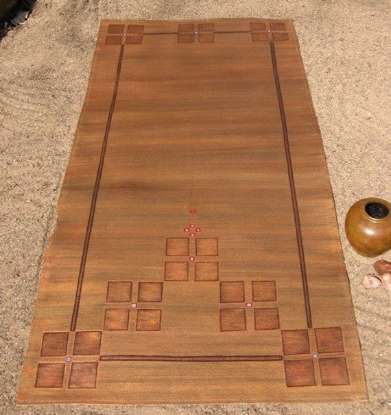 Mission Or Arts And Crafts Floorcloth Rug Irridescent Coppers