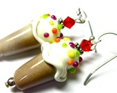 Ice Cream Earrings Lampwork Earrings Ice Cream Cones Glass Earrings Glass Bead Earrings Artisan Earrings Beaded Earrings Cute Earrings