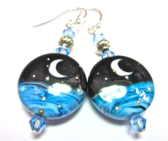 Blue Black Moon Earrings  Lampwork Earrings Crescent Moon Earrings Celestial Earrings Glass Earrings Handmade Earrings
