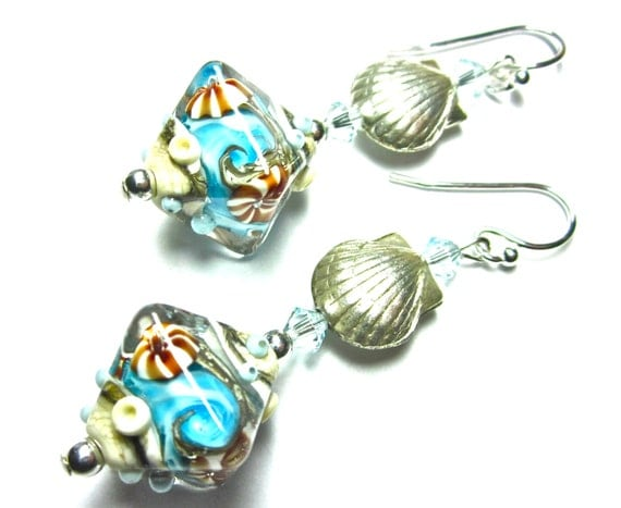 Lampwork Earrings, Handmade Lampwork Beads, SRA Artist, Swarovski Crystals, Sterling Silver Earwires and Shell Beads, Ocean Beads