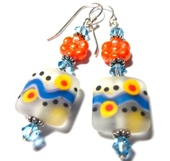 Lampwork Earrings, Handmade Lampwork Beads, SRA Artist, Swarovski Crystals, Sterling Silver Earwires and Beads, Czech Glass Beads