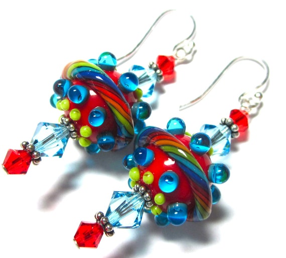 Lampwork Earrings, Handmade Artisan Lampwork Beads, SRA Artist, Swarovski Crystals, Sterling Silver Earwires and Components