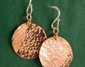 Hammered Copper Disk Earrings