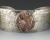 Leopard Skin Jasper Sterling Silver Cuff Bracelet