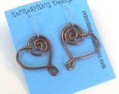 Spiral Heart - Wire Earrings -  Customize your Color