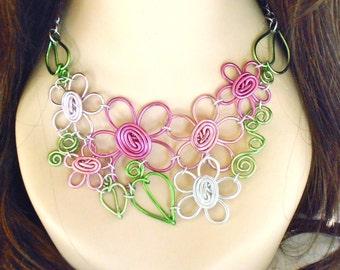 Mid Summer's Eve Bouquet Flower Bib Necklace