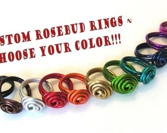 Rosalie Swirl Rose Bud Ring