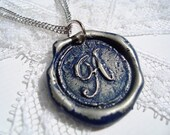 Navy Blue -Original Wax Seal Necklace, painted, letter of your choice