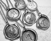 MINI monogrammed wax seal necklace, Letter of your choice