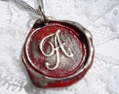 Red Original Wax Seal Necklace, painted, letter of your choice