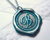 Ritzy Misfit Wax Seal Pendant TEAL colored letter of your choice monogrammed initial WITH chain