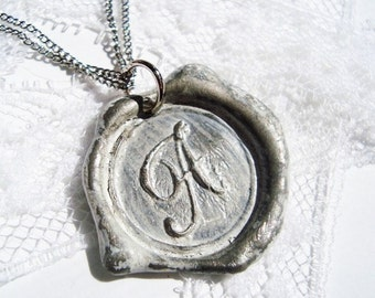 Wax Seal Necklace Ritzy Misfit Pendant WHITE letter of your choice monogrammed initial