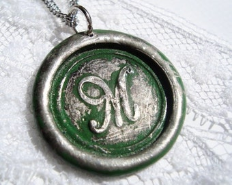 Green -Original hand stamped wax seal necklace, painted, letter of your choice