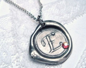 Ali Fedotowsky Wax Seal Pendant As seen on the BACHELORETTE -MINI with CRYSTAL color of your choice wax seal stamp Letter of your choice