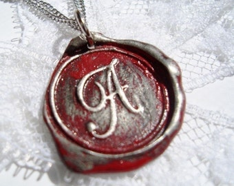 RED letter of your choice monogrammed initial wax seal pendant WITH chain a b c d e f g h i j k l m n o p q r s t u v w x y z