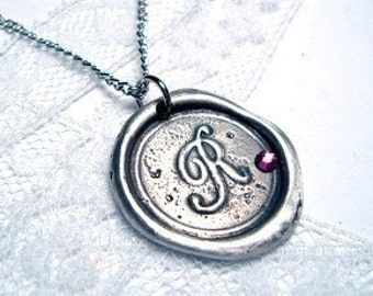 wax seal stamp pendant necklace with swarovski crystal letter of your choice monogrammed initial