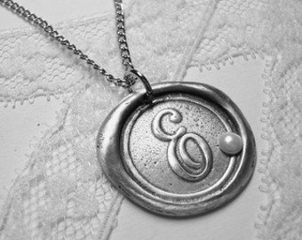 Wax Seal Stamp Necklace - Pendant with PEARL letter of your choice monogrammed initial a b c d e f g h i j k l m n o p q r s t u v w x y z