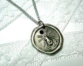 Halloween Spider with Crystal Hand Stamped Necklace As Seen on James Durbin on American Idol Wax seal stamped