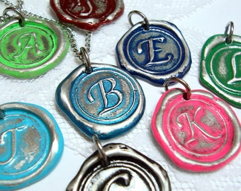 Color of your choice, letter of your choice MINI monogrammed initial necklace, painted only